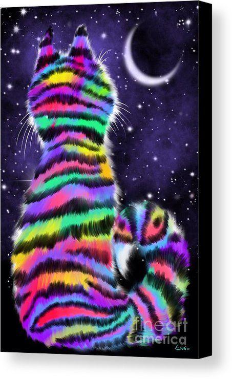 Kleurrijke Kunst van de Kat Canvas Druk die het schilderij Regenboog Kat van de Tijger door Nick Gustafson