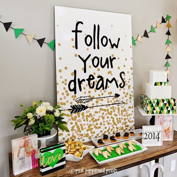 Block Garland Graduation Decor. It's super chic to decorate your graduation party with this gorgeous acrylic block garland for perfect garnishment. The 'Follow Your Dream' picture board coordinate with this graduation party theme perfectly.