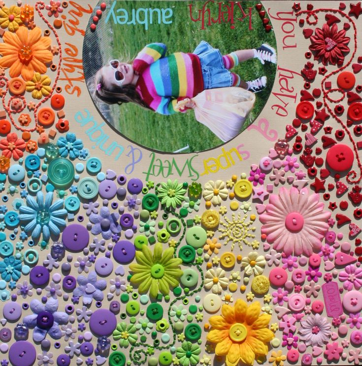 W.O.W!!: Scrapbook Ideas, Crafts Ideas, Farms Pictures, Buttons Crafts, Rainbows Colors, Button Crafts, Cute Ideas, Buttons Art, Scrapbook Layout