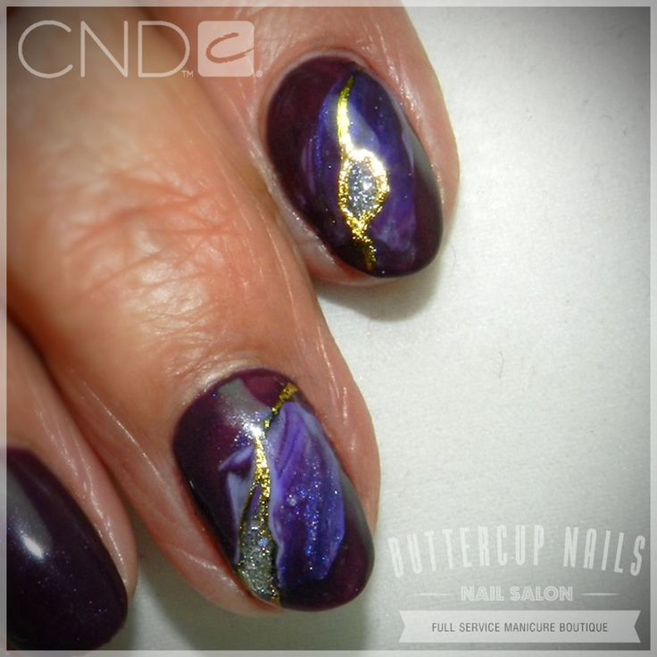 CND Shellac in Rock Royalty with Geode style feature nails.    #CND #CNDWorld #CNDShellac #Shellac #RockRoyalty #GeodeNails #NailArt #ButtercupNails