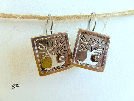 Autumn sterling silver earrings, Romantic handmade earrings, Patina Earring