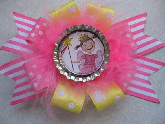 PINKALICIOUS adorable princess book character cute girls hairbow with feathers marabou - cupcake qt