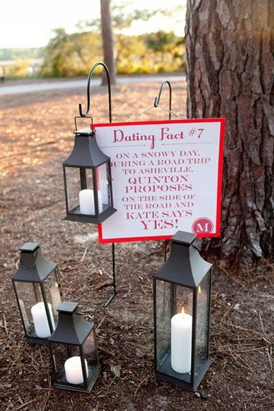 "Display ""dating facts"" along the way to your ceremony location.Photo Credit: Kellie Kano"