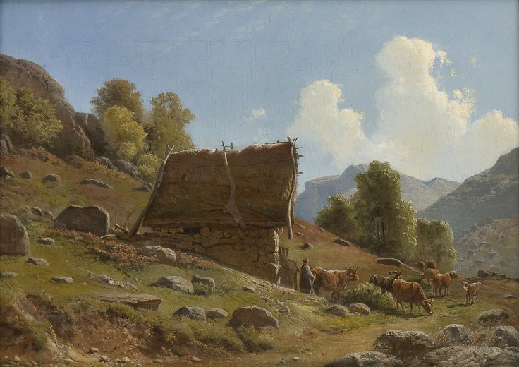 Thorolf Holmboe 1866-1935: Milkmaid with cattle by a summer farm (1861)
