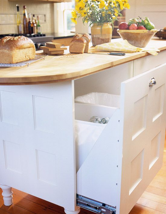 Storage for Recyclables -   It feels good to go green, especially when the results aren't on display. Use the kitchen island to keep all those cans and bottles stashed in an oversized pullout shelf behind a sturdy door.