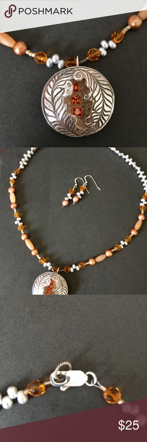 """Unique Beaded Pearl Necklace/Earrings Sterling Slv Part of my grandmother's collection, very unique. Jeweler verified necklace is sterling silver with freshwater pearls. Various size and shape orange beads. The pendant is sterling silver with orange beads inset. Measures just about 11"""" long. Pendant is about 1.25"""" around. Earrings are made of same beads and pearls, have 1.5"""" drop. There are 8 extra pearls included. A nicely made set, conversation starter! Jewelry Necklaces"""