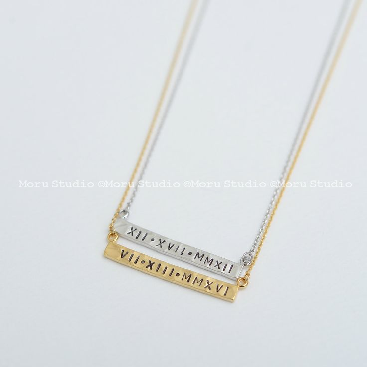 Personalized Roman Numeral Date Necklace/ Long Skinny Name Bar Necklace, Hand…