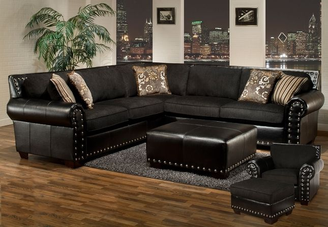 Avanti traditional black sectional sofa w nailhead for Traditional living room ideas with leather sofas