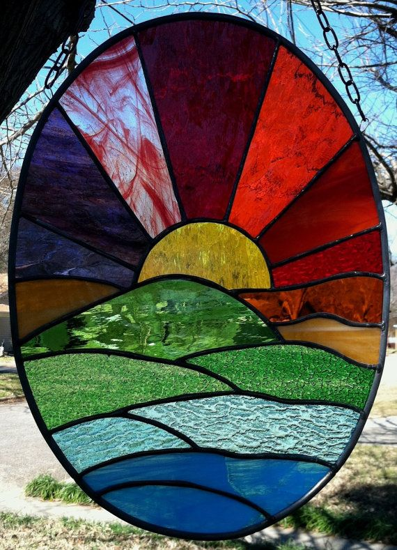 Sunset Tropical Stained Glass Window Suncatcher by Suzanne Emerson