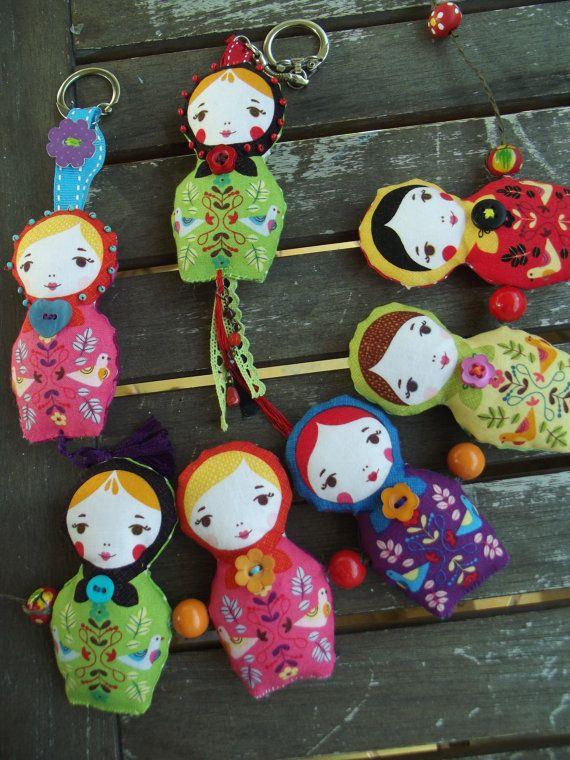 "Bohemian Garland ""Russian dolls"" or ""Matrioschkas"" fabric"