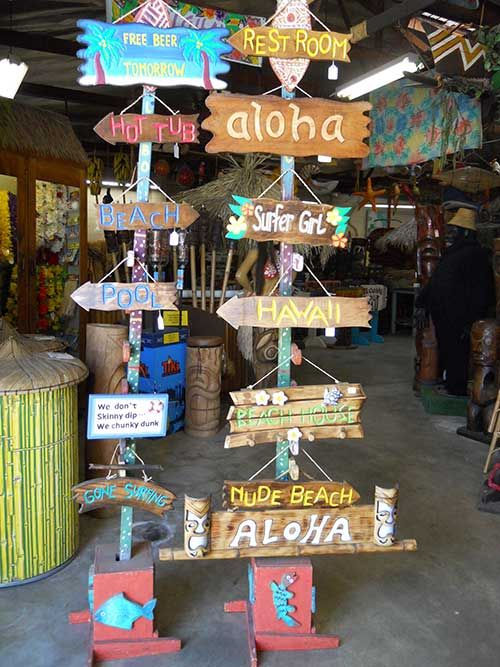 tiki signs from Oceanic Arts, Whittier, CA (could recreate DIY style)