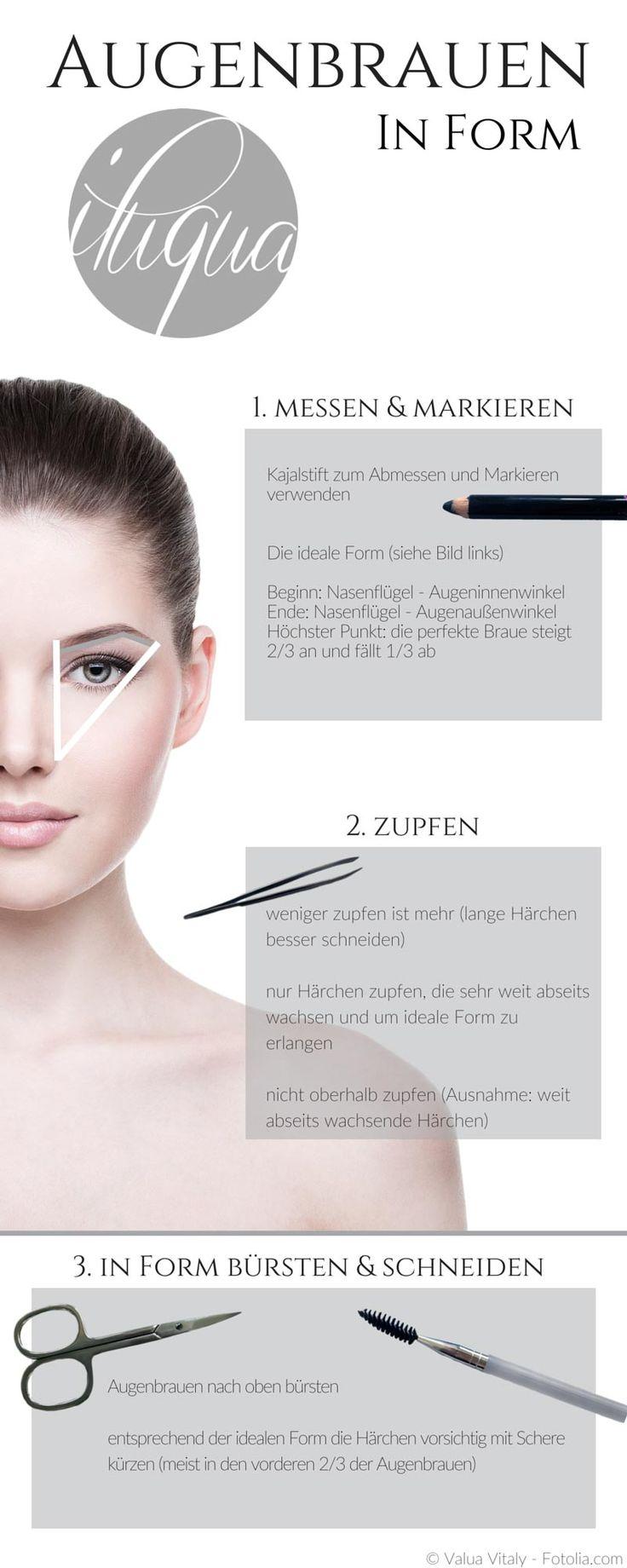 Schritt-für-Schritt zu deiner idealen Augenbrauenform.  http://iluqua.com/tutorials/augenbrauen-richtig-zupfen-schritt-fuer-schritt/