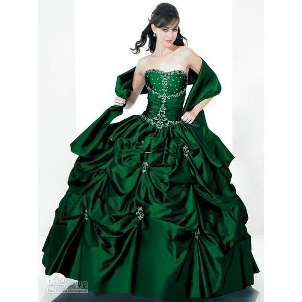 emerald green gowns online shopping ❤ liked on Polyvore featuring pants, leggings, emerald green leggings, green trousers, emerald green pants, green leggings and green pants