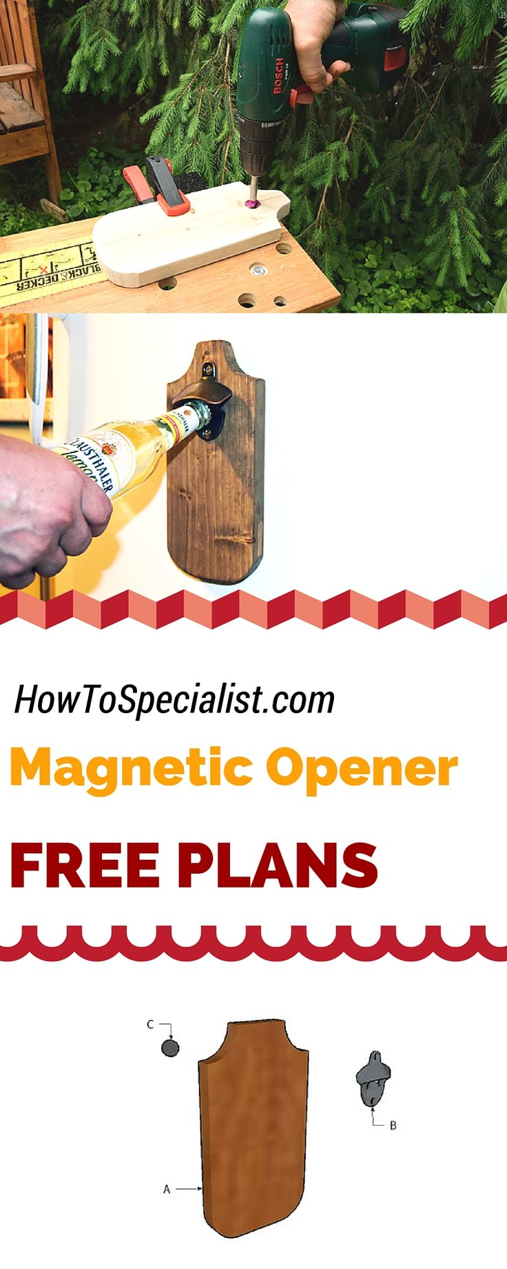 Learn how to build a magnetic bottle opener using a scrap piece of wood and magnets! Free diy bottle opener with magnetic cap catcher! howtospecialist.com #diy #bottleopener #woodworking