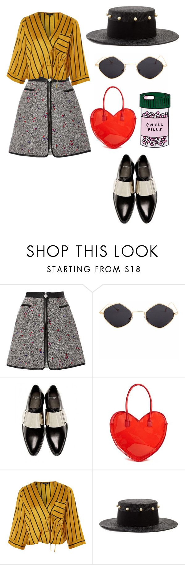 """""""Untitled #2525"""" by dani-gracik ❤ liked on Polyvore featuring Carven, Givenchy, Forever 21, Federica Moretti, ban.do, PopsOfYellow and NYFWYellow"""