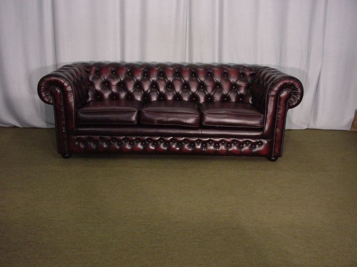 Canapé chesterfield bordeaux 3 places www.helen-antiquites.com