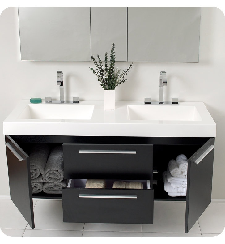 "Fresca FVN8013 Opulento 54"" Wall Mounted Wood Double Vanity with Mirrored Medicine Cabinet, Sinks, Countertop, P-Traps, Pop Up Drains and Installation Hardware"