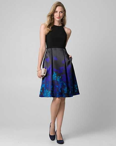 Floral Print Satin Halter Cocktail Dress - A stunning halter dress is finished with a feminine fit and flare silhouette and a perfectly patterned satin skirt.