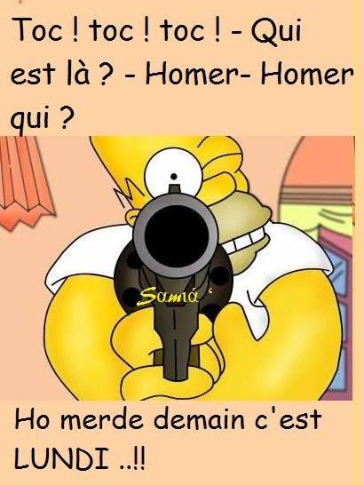 Toc ! toc ! toc ! - Qui est là? - Homer - home qui? Ho merde demain c'est LUNDI ... !!