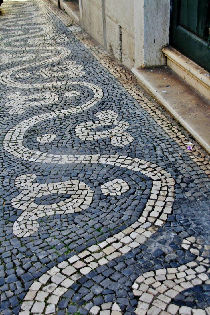 "The famous Portuguese cobblestone pavement (""calcadas"") in Belèm ~ photo by Sabine Ostermann"