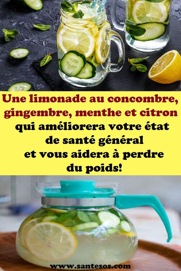 Une limonade au concombre, gingembre, menthe et citron qui