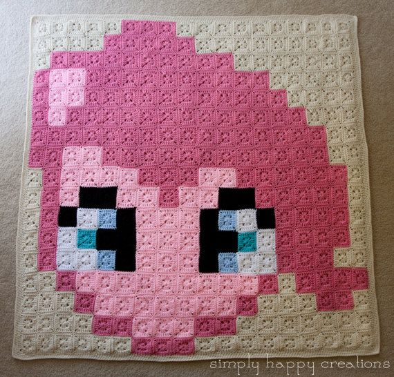 "MLP Pinkie Pie 8Bit Pixel Crochet (306 solid 3"" granny squares - it measures approximately 53"" x 54"")  by simplyhappycreations"
