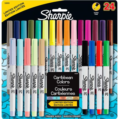Sharpie Permanent Markers Ultra Fine Point - Assorted Colors - 24 Count