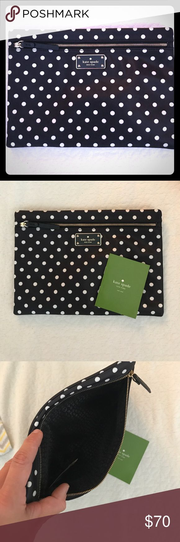 """Kate Spade ♠️ cosmetic bag. Larger Kate Spade cosmetic bag (also have small one listed on page). H: 7"""" w: 10"""". Never used. kate spade Bags Cosmetic Bags & Cases"""