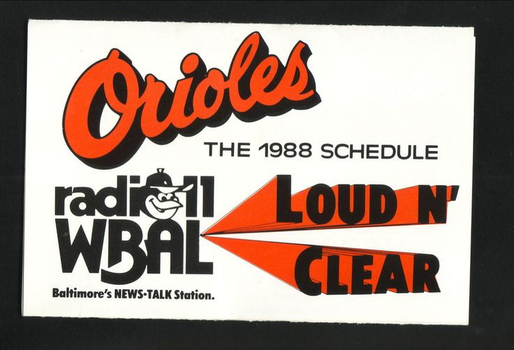 1988 Baltimore Orioles Schedule--WBAL/Rosedale Federal #PocketSchedule