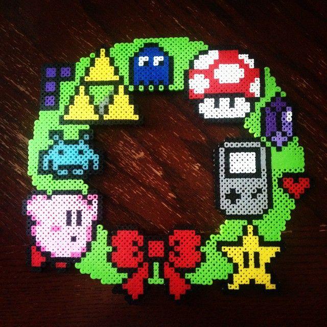 Video game Christmas wreath perler beads by Liz DeJesus