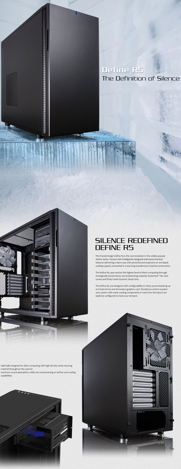 Fractal Design Define R5 Mid Tower Titanium [FD-CA-DEFR5-TI] : PC Case Gear
