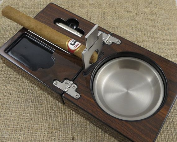 Personalized Cigar Ash Tray with Guillotine Cigar Cutter - Gifts for men - Ashtray - Gifts for Grandfather