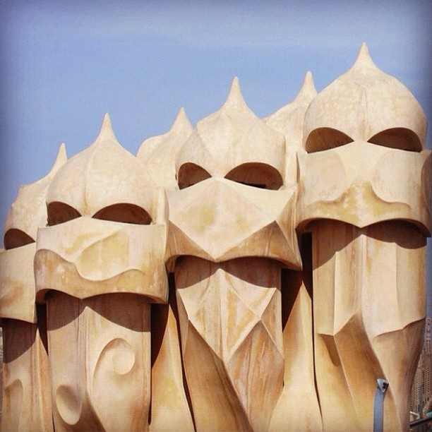 The unique chimneys of La Pedrera - just one of Gaudi's many buildings in Barcelona #barcelona #architecture