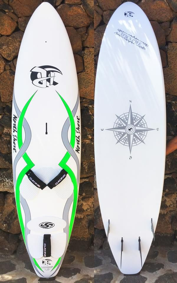 New Quad windsurfboard 95l, 238 x 60cm, 5,65 kgs, single concave deepest between straps, Innegra, Entropy Plantbase Epoxy, Black Project Fins handcrafted by Jürgen