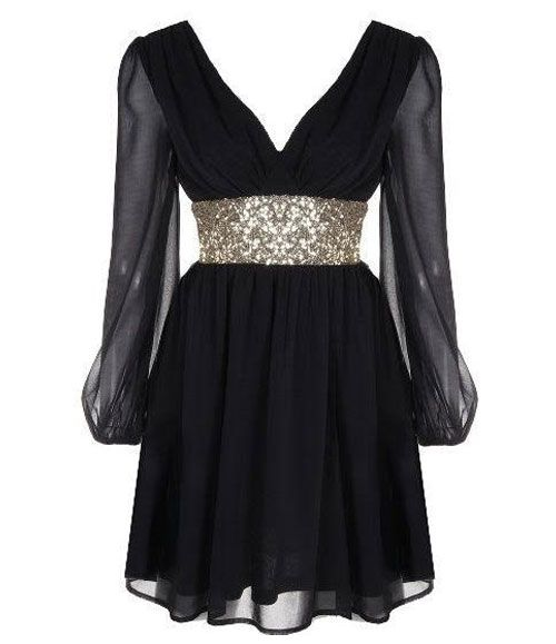 TW_5048 Short Prom Black Sequin Dress