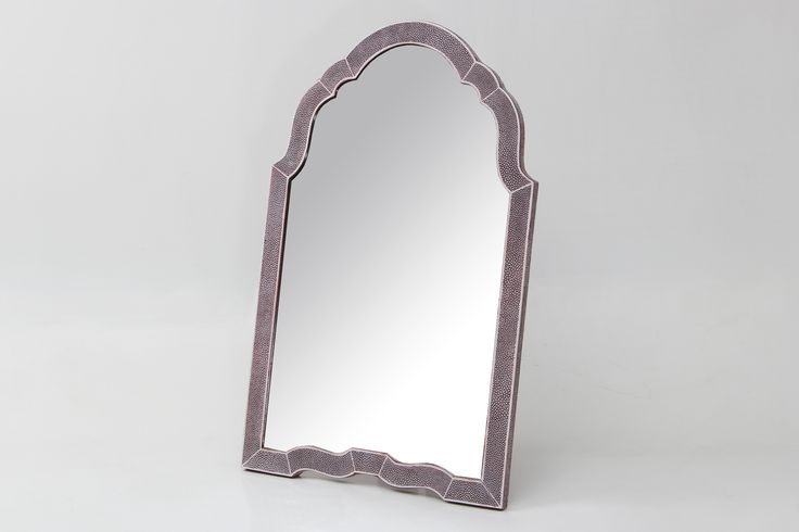 Dressing table mirror in Mulberry shagreen