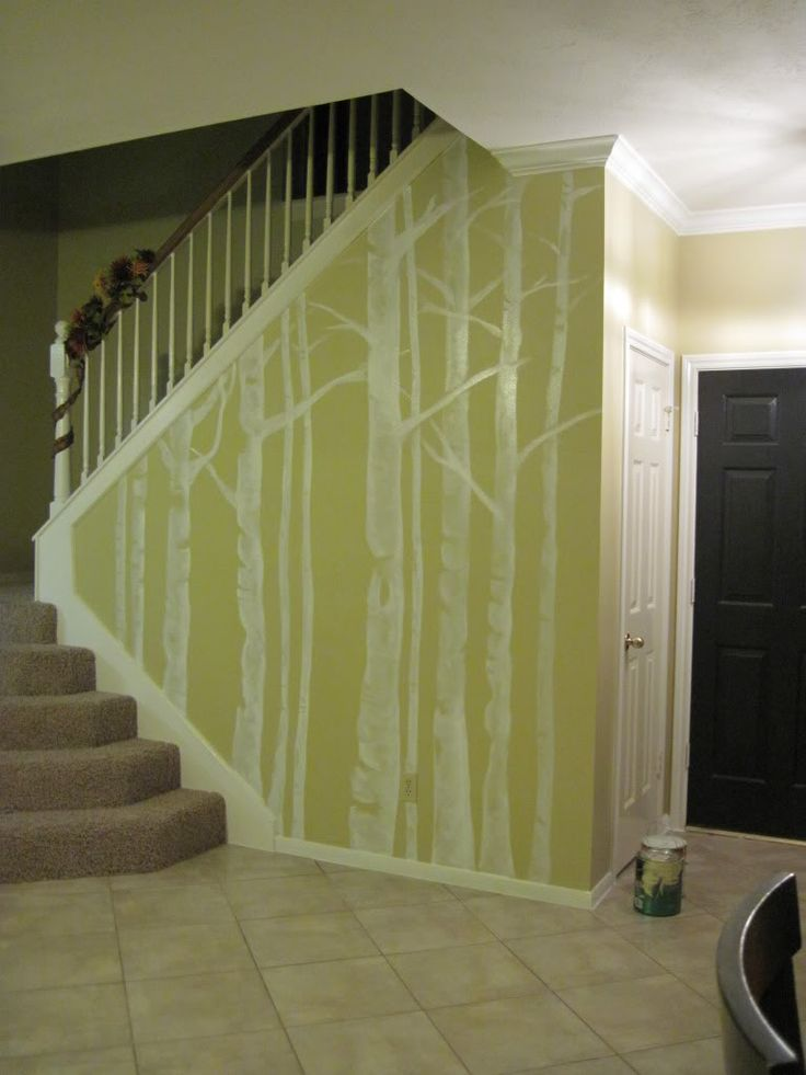 Painted Wall TreeTrees Trunks, Wall Trees, Wall Murals, Living Room, Painting Wall, Wall Stickers, Trees Murals, Trees Wall, Accent Wall