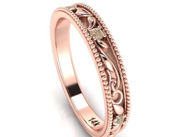 wedding bands engagement band bohemian wedding rings rose gold and champagne color diamonds paisley and vine rings rose wedding band - Bohemian Wedding Rings