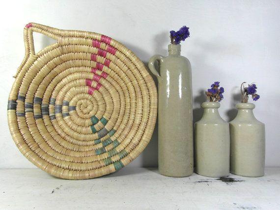 Vintage grass basket wall hanging basket by frenchvintagedream
