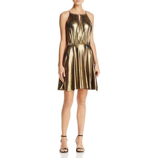 Aqua Metallic Fit-and-Flare Dress - 100% Exclusive (€70) ❤ liked on Polyvore featuring dresses, gold, gold party dress, gold cocktail dress, going out dresses, fit and flare party dress and holiday party dresses