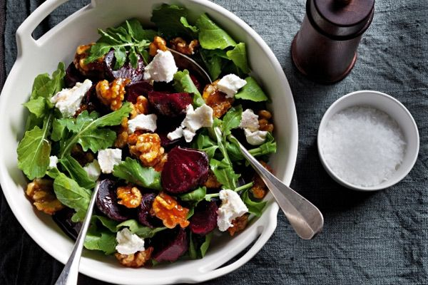 Beetroot,-Rocket,-Feta-and-Walnut-Salad | food | Pinterest
