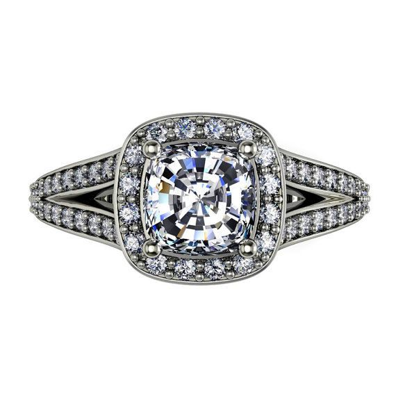 moissanite engagement ring cushion cut by fabiandiamonds on Etsy
