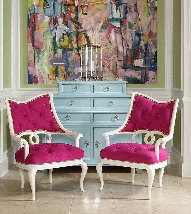Magenta Home Decoration: Century Furniture Aqua Cabinet, Magenta Tufted Chairs