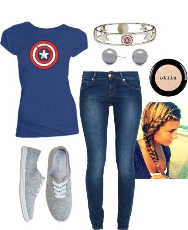 """Capitan America"" by peyton-brown on Polyvore. I would like for the shield to be bigger though. @Miss Mako"