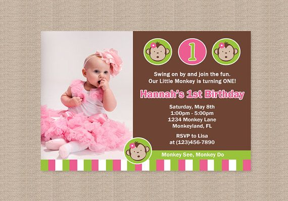 Pink Mod Monkey Birthday Party Printables Package by Honeyprint