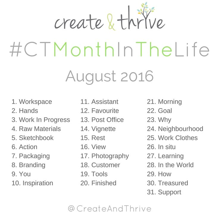 #CTMonthInTheLife – A Photo-a-Day Instagram Challenge for Makers – Starts August 1, 2016! | Create & Thrive