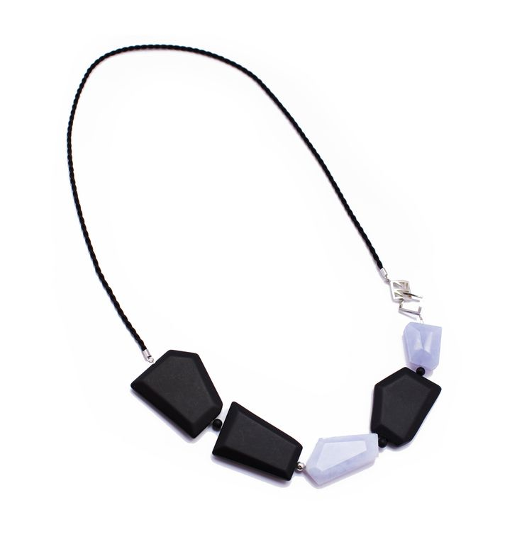 Blue and Black Oblique Necklace. Onyx, blue chalcedony, sterling silver and silk. Statement necklace $290