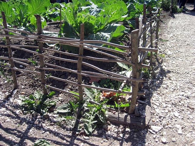 great little fence idea... pressure set twigs woven in posts