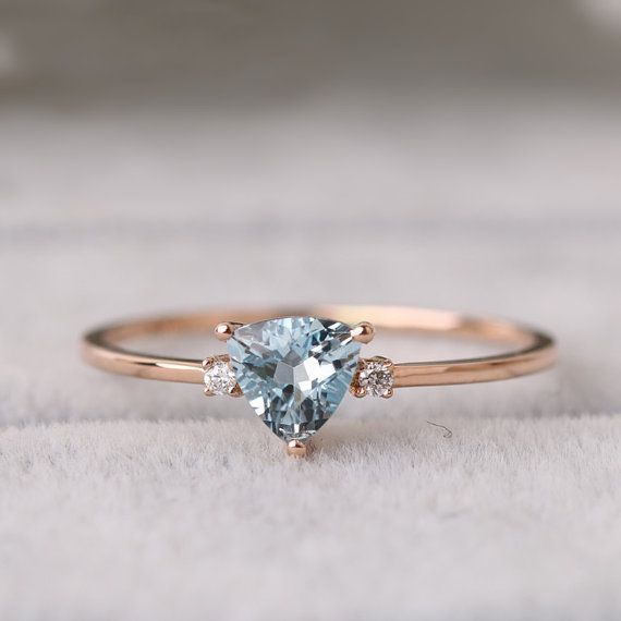 14k 18k 18k Gold Aquamarine Ring, Alternative Engagement Ring, 18K Rose Gold Ring, Wedding Ring, Promise Ring, Anniversary Ring, White Gold Ring