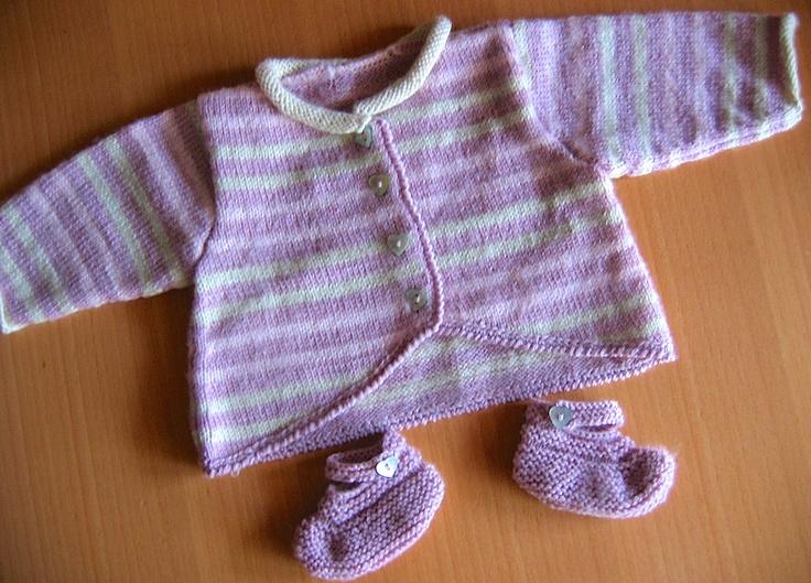 Cardigan 0-3 mois et ses chaussons en Baby Superwash